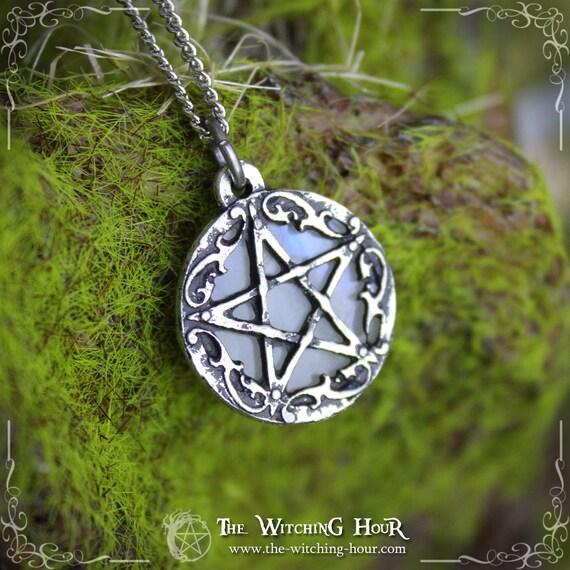 Pentagram pendant with rainbow moonstone, pentagram necklace, pagan jewelry