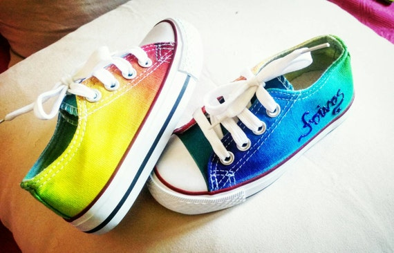 ac08517666da Kid s converse style low top toddler shoes Rainbow