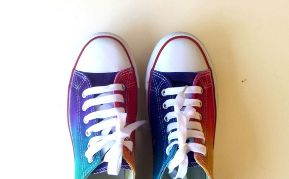 8a26463affa1d7 Converse Style Low Top Shoe. Hand Painted Ombre Bright Bold