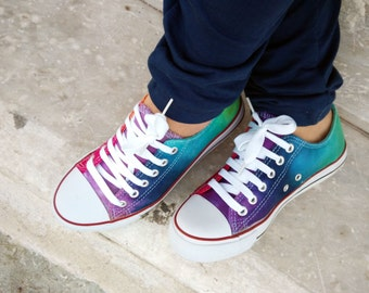 Converse Shoes. Tie Dye Rainbow Hand Painted Customized Men's Women's Unisex Shoes, Unique Gift, LGBT, Chuck Taylor, Gay, Lesbian, Bridal