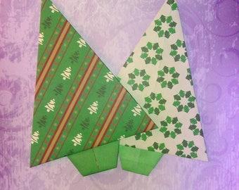 Christmas: set of 2 Christmas trees Christmas origami 15 x 10 cm