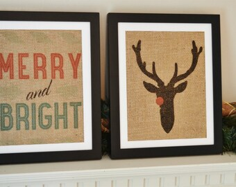 Christmas Merry and Bright Burlap Print