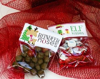 Elf Kisses, Reindeer Noses - Holiday Treat bags