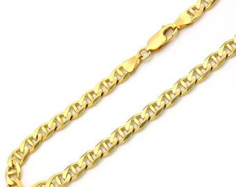 8cd1e0973 1.6-8mm 14K Solid Yellow Gold Men/Women Gucci Concave Mariner Chain Necklace  16