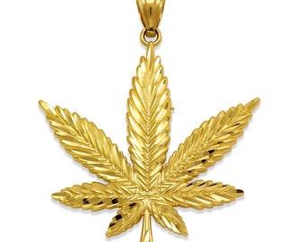 Small Tiny Dainty Boho Cannabis Plant Unisex Charm {Charm Pendant Also Available as Charm Alone} Marijuana 14K Solid Gold Pot Leaf Necklace