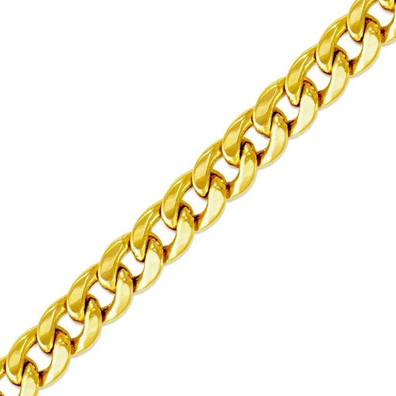 9.7mm Miami Cuban Curb Link Italy Sterling Silver 14k Yellow Gold Chain Bracelet