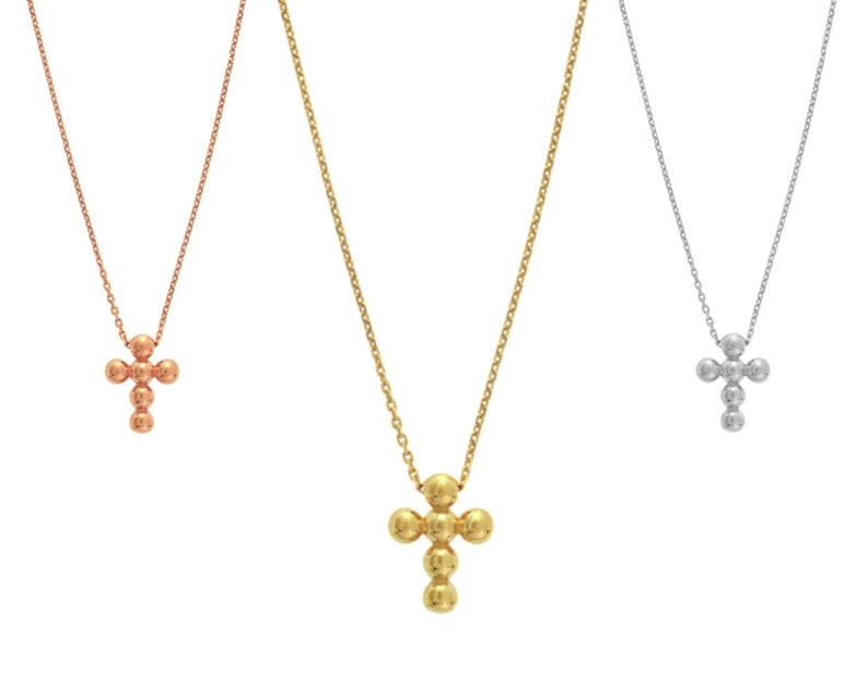Tiny Cross Necklace Minimalist Adjustable Cable Chain Necklace 14K Solid Gold Petite Beaded Cross Necklace