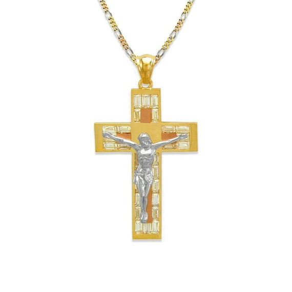 Tricolor Gold 14K Solid Real Jesus Crucifix Cross Stamp Religious Charm Pendant