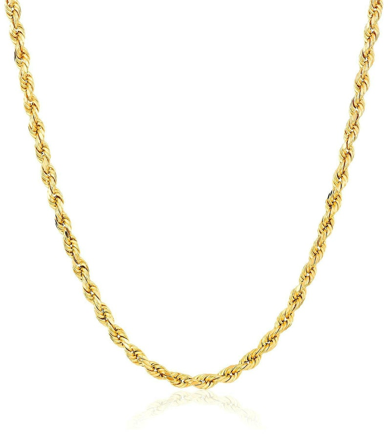 e49b8089be463 14K Yellow Gold Italy 2 - 6.5 mm Rope Chain Twist Hollow Necklace 16