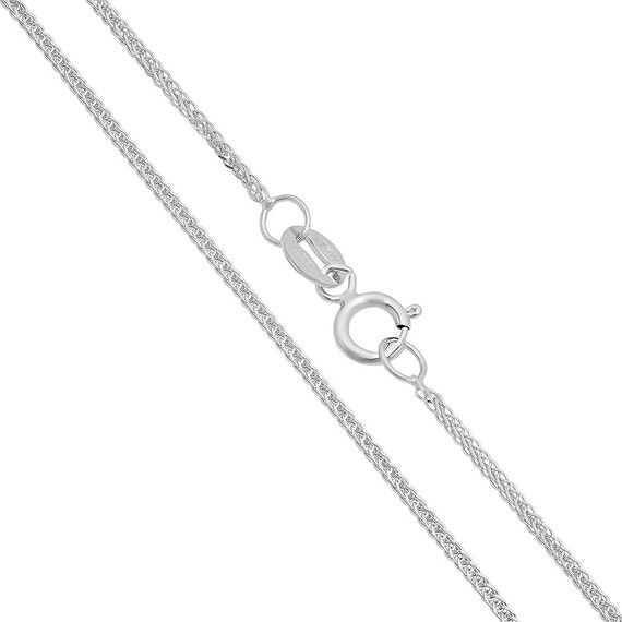14k Solid White Gold Square Wheat Chain Gold Necklace Men Etsy