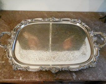 beautiful vintage 1940s large 28 silver plated butlers serving tray handled footed ornate goldfeder silver co halloween valentines day