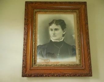 Antique Victorian Charcoal Portrait Beautiful Young Christian Woman in Ornate Quartersawn Oak Frame