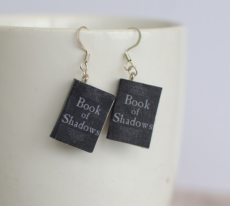 Book of Shadows Mini Book Earrings, Spell Book Miniature Charms, Nickel  Free Jewelry, Halloween Jewelry, Book Lover Gift
