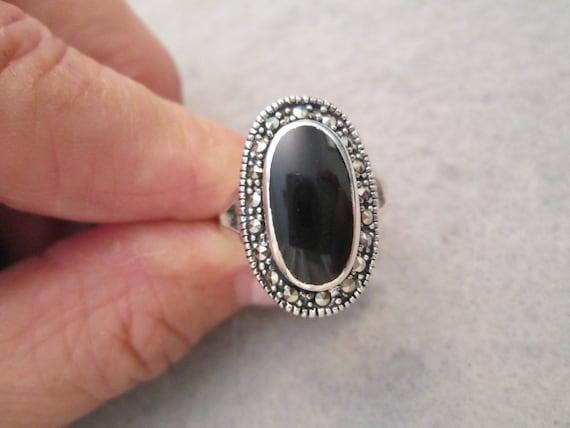 Estate Vintage Solid Sterling Silver And Genuine Black Onyx Gemstone Marcasite  /& Pearls 1 12/'/' Pin