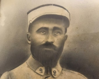 French Antique/Vintage Charcoal Portrait of French Foreign Legion Soldier.