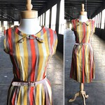 50s George Hess Striped Cotton Dress with Bow Details