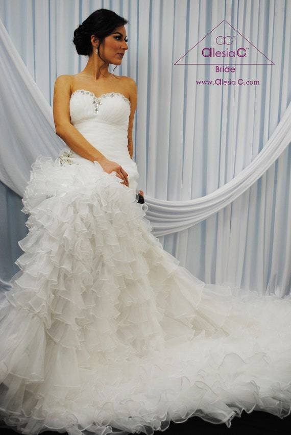 Blooma Sweetheart Strapless Fit N Flare Ruffled Skirt Custom Couture Wedding Dress Ruched Corset By Alesia C Made To Measure Bridal Dress