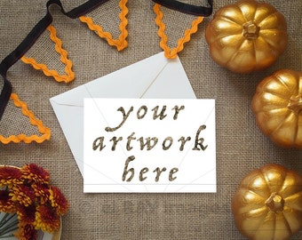 Autumn Greeting Card Horizontal Mockup for Your Artwork    Note Card   Styled Stock Photography   Instant Download