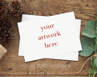 Mockup for Greeting Card    Horizontal   5x7 Size Note Card Winter Theme   Styled Stock Photography   Instant Download