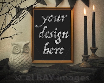 Gold Vertical Frame for Your A4 Size Artwork   Halloween Theme with Vintage Look   Print Mockup