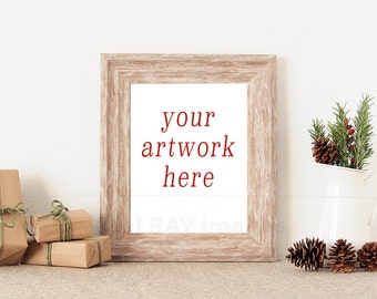 8x10 Vertical Christmas Frame Mockup for Your Artwork   Styled Stock Photography   Instant Download