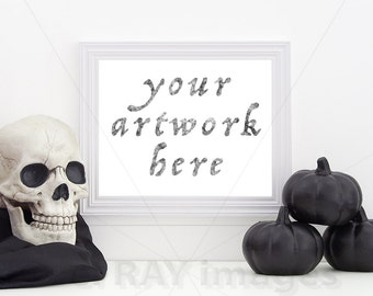 Halloween   White Horizontal Frame for Your 8x10 Artwork   Print Mockup   Digital Download