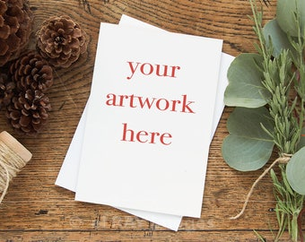 Mockup for Greeting Card    Vertical   5x7 Size Note Card Winter Theme   Styled Stock Photography   Instant Download