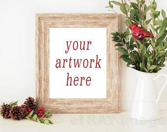 8x10 Vertical Christmas Frame Mockup for Your Artwork   Also w/o Frame   Styled Stock Photography   Instant Download