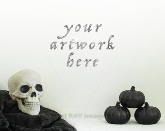 Halloween   White Empty Wall for Your Artwork   Print Mockup   Digital Download