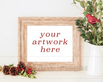8x10 Horizontal Christmas Frame Mockup for Your Artwork   Also w/o Frame   Styled Stock Photography   Instant Download