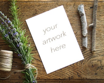Mockup for Greeting Card    Note Card w/Rosemary  Styled Stock Photography   Instant Download - Digital