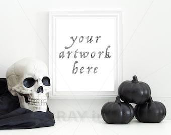 Halloween   White Vertical Frame for Your 8x10 Artwork   Print Mockup   Digital Download
