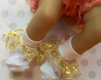 NEW...Boutique Custom Fancy Feet Colors of a Rainbow Ruffle Socks