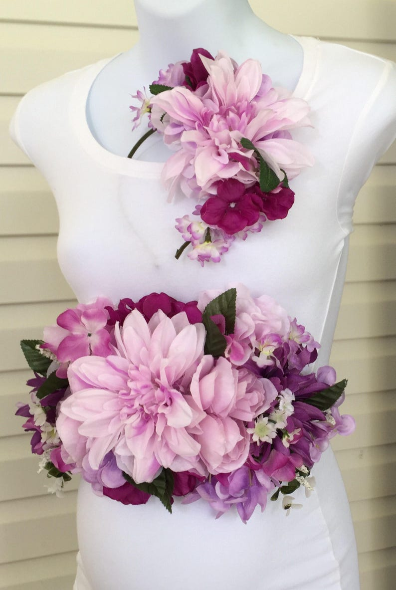 8a2133a4f12 Lavender Lilac Pink  Plum  Purple and White Floral Maternity  Bridal Sash  and Headband Set