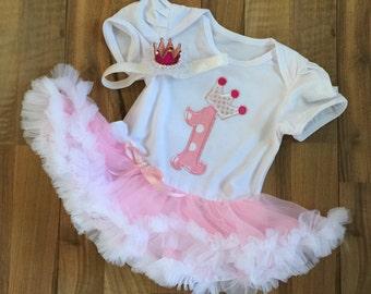 First Birthday Girl Tutu Dress And Headband, Crown Headband, First Birthday Outfit, First Birthday Princess Dress, Birthday Pettiskirt