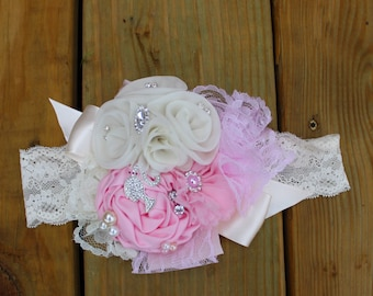 Pink and White Lace, Chiffon and Satin Flower Headband, Vintage, Couture, and Shabby Chic Headband, Baby Girl, Toddler,  and Adult Headband