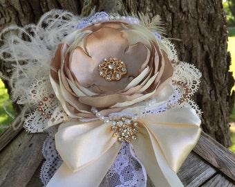 Ivory And Champagne Vintage Inspired Headband, Flower Headband, Lace Headband, Wedding Headband, Infant, Baby, BabyGirl Headband, Photo Prop