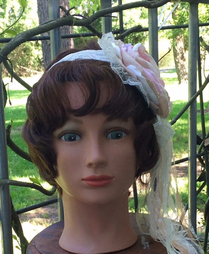 Toddler Headband Adult  Headband Blush Pink and Ivory Vintage Inspired Headband Flower Headband Baby Girl  Headband Photo  Prop