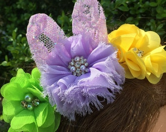 Lime Green, Lavender and Yellow Flower Easter  Headband, Bunny Ears Headband, My First Easter Headband, Shabby Chic Headband, Photo Prop