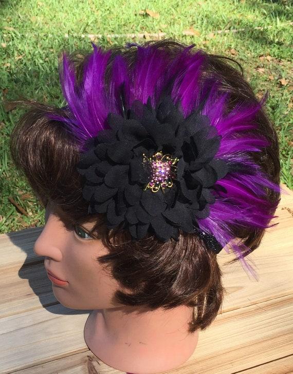 Viberant Magenta and Black Feather Fascinator Headband  d8c6f3fcfe3