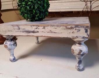 Wood Pedastal Tray, chippy paint finish. Customized feet.  Farmhouse style, home decor, wedding gift, housewarming gift. 2 sizes available.