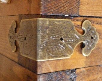 4 Bronze Holzkiste Möbel Füße Bein Dekorative Metall Eckschutz Vintan C-ab