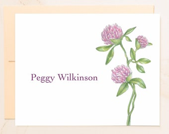 Personalized Clover Folded Note Cards - Custom Note Cards - Rustic Floral Gift - Social Stationery - Farmer Gifts - Thistle Notecards - CL1