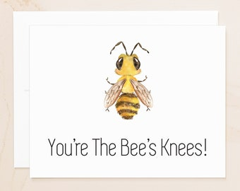 Bee Folded Thank You Note Cards - Thanks Notecards - You're the Bee's Knees - Social Stationery - Honeybee Gifts - Fall Notecards - AB1