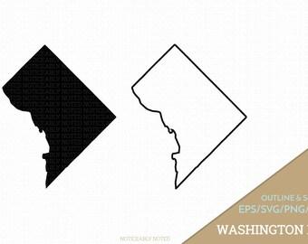 Washington D.C. Vector, Washington Clipart, DC Clip Art, Washington District of Columbia SVG, State PNG  (Design 13762)