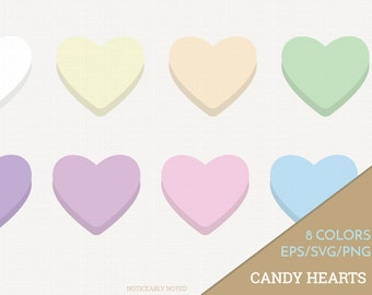 Candy Hearts Vector, Conversation Hearts Clipart,  Heart SVG, Valentine's Day Printable, Love Print and Cut (Design 11605)