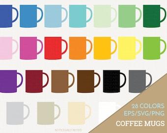Coffee Mug Vector, Coffee Cup Clipart,  Kitchen SVG, Mug Printable, Cup Print and Cut (Design 11619)