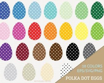 Easter Eggs Vector, Polka Dot Eggs Clipart, Patterned Egg SVG, Spring Printable, Easter Print and Cut (Design 11610)