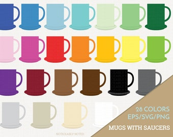 Coffee Mug Vector, Coffee Cup Clipart,  Kitchen SVG, Mug with Saucer Printable, Cup and Saucer Print and Cut (Design 11609)