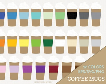Coffee Mug Vector, Coffee Cup Clipart,  Kitchen SVG, Travel Mug Printable, Coffee with Whipped Cream Print and Cut (Design 11621)